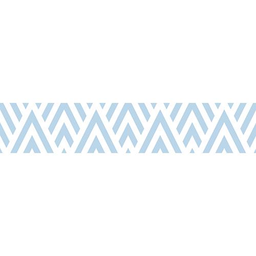Sticker autocollant motif géométrique bleu clair et blanc pour contremarches d'escaliers