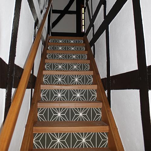 Contremarches d'un escalier traditionnel décorées par des autocollants décoratifs représentant des formes géométriques noirs