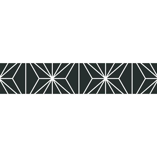 Sticker décoratif pour contremarches représentant des formes géométriques noirs
