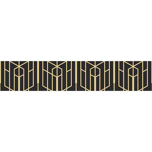 Sticker adhésif déco motif géométrique or et noir