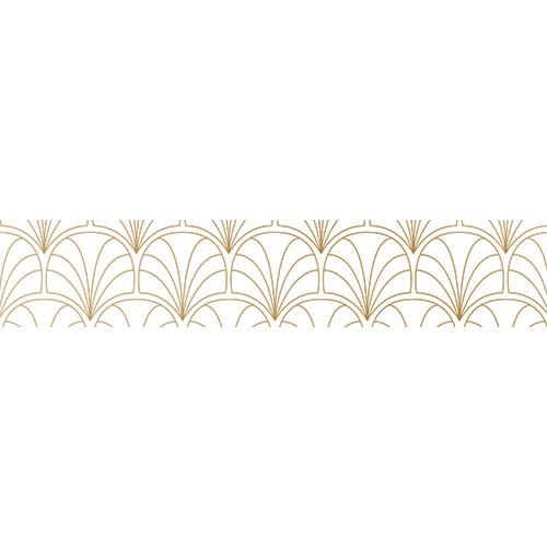 Sticker décoratif autocollant motif éventail blanc et or pour contremarches