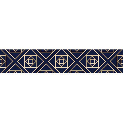 Sticker adhésif décoratif motifs géométriques bleus et or pour contremarches