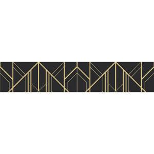 Sticker adhésif décoratif pour contremarche motif pyramidale or sur fond bleu