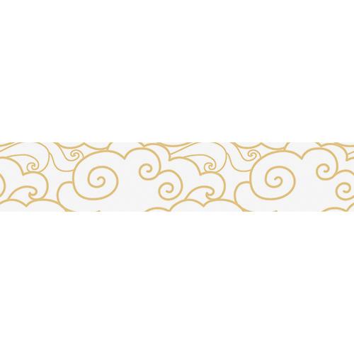 Stickers autocollants décoratifs représentant des nuages blanc et or collés sur des contremarches d'escaliers en bois noir