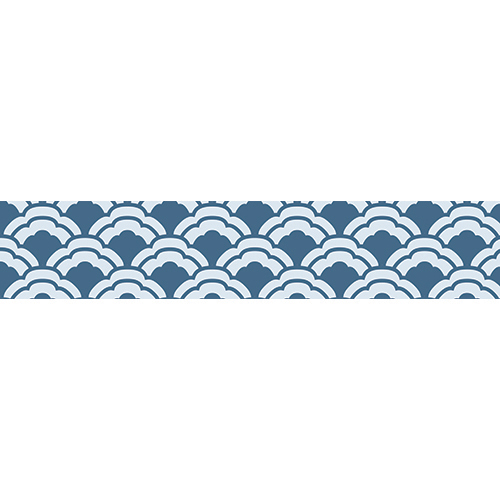 Sticker autocollant décoratif bleu de la collection Asie pour contremarches