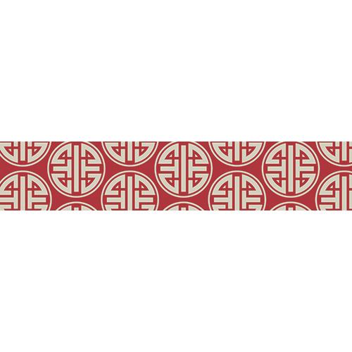 Sticker autocollant modèle chinois blanc sur fond rouge pour contremarches