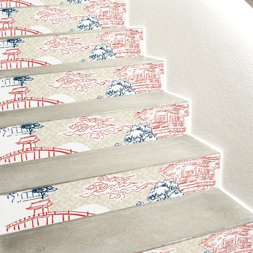 Stickers autocollants déco monuments d'Asie rouge sur fond blanc collés sur des contremarches en béton