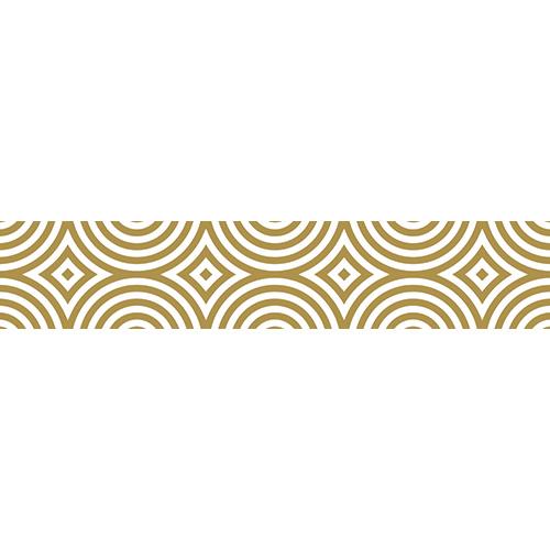 Sticker adhésif déco Kaléïdoscop blanc et or pour contremarches