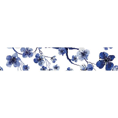 Sticker décoratif fleurs de cerisier bleus pour contremarches