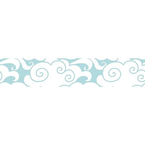 Sticker autocollant décoratif motif nuage blanc sur bleu