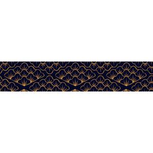 Sticker adhésif décoratif mosaïque d'écailles or et bleues pour contremarches