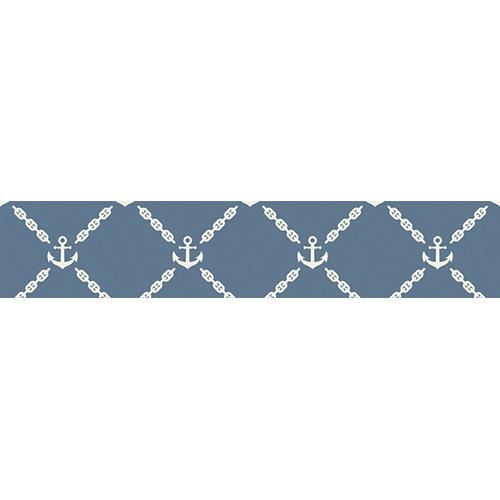 Sticker autocollant ancres blanches ssur fond bleu pour contremarches