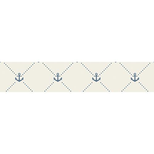 Autocollant ancres bleus sur fond blanc pour contremarches d'escalier