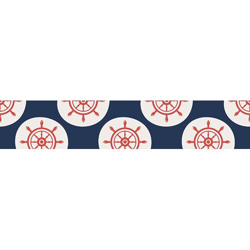 Sticker autocollant décoratif mosaïque de gouvernails rouges sur blanc pour contremarches