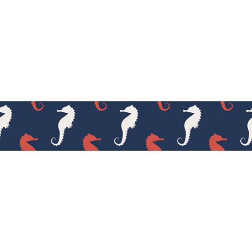 Sticker autocollant mosaïque d'hippocampes blancs et rouges
