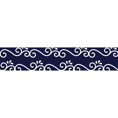Sticker autocollant arrabesque blanche sur fond bleu pour contremarches