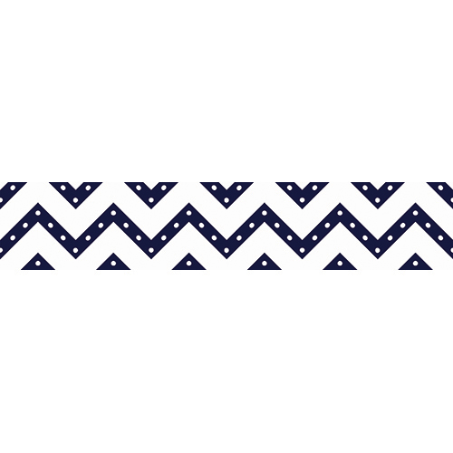 Sticker autocollant décoratif pour contremarches d'escalier modèle chevrons blancs à pois bleus