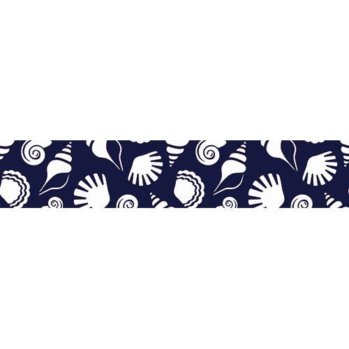 Sticker autocollant mosaïque de coquillages blancs sur fond bleu