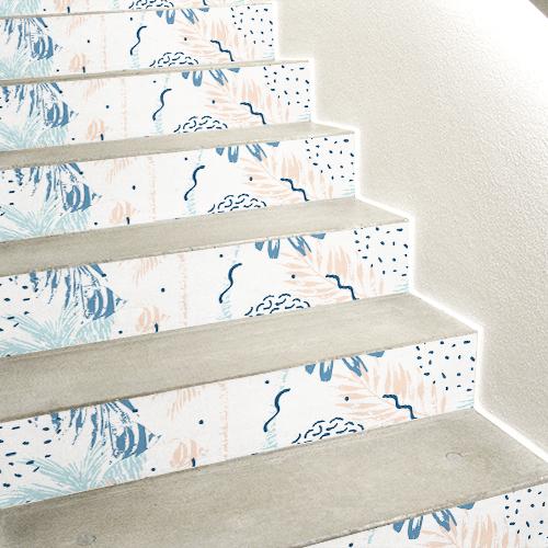 Sticker autocollant plantes aquatiques pour contremarches d'escalier