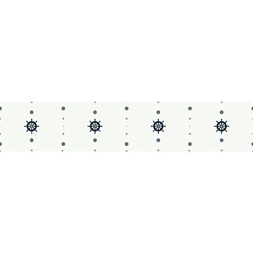 Sticker adhésif déco mosaïque de gouvernails noirs sur fond blanc