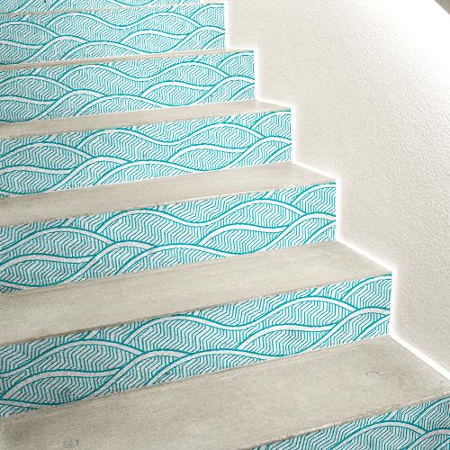 Sticker autocollant motif vagues bleues claires thème Asie pour contres marches