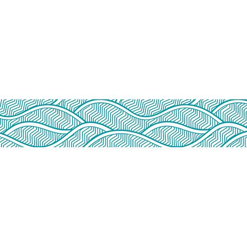 Plusieurs stickers vagues Asie bleues clair collés sur des contremarches en béton