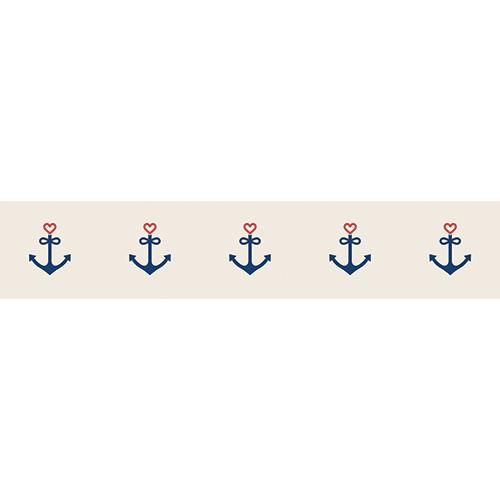 Stickers décoratifs mosaïque d'ancres coeur bleues et rouges