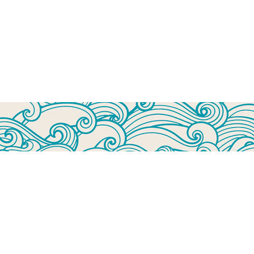 Stickers décoratifs vagues blanches collés les marches d'un escalier en bois noir