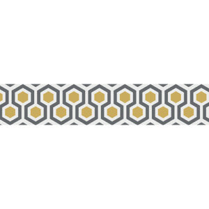 Sticker autocollant ruche stylisée grise et jaune pour contremarches