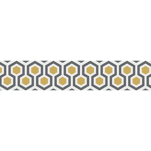 Stickers ruches modernes collés sur des contremarches en bois noir