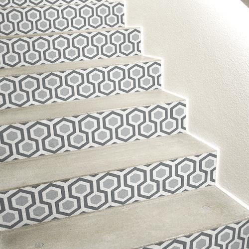 Sticker autocollant décoratif gris modèle ruches pour contremarches