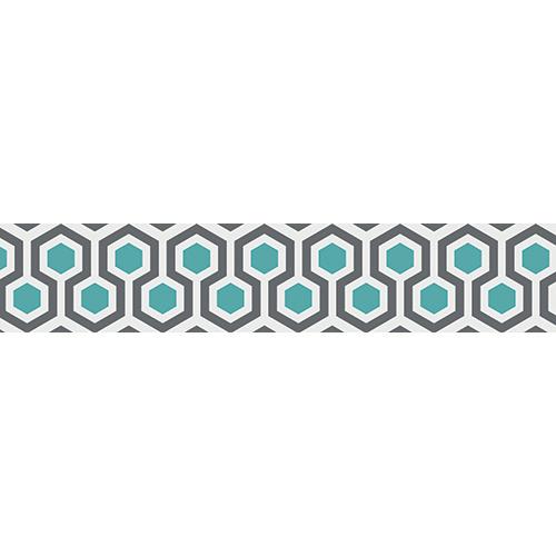 Stickers Ruche bleu et gris collé sur des escaliers modernes