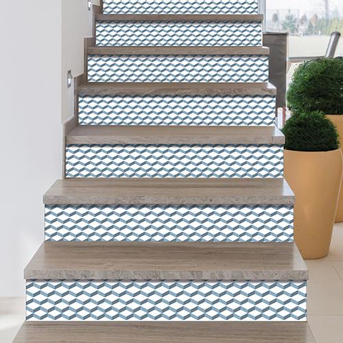 Sticker adhésif de contremarche géométriques chevrons 3D gris bleu