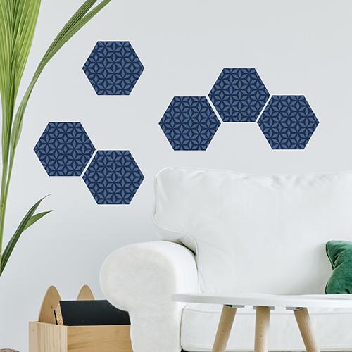 Sticker adhésif hexagones bleus pour carrelage