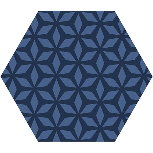 Stickers nid d'abeille hexagones bleu posés sur un mur de joli salon blanc.