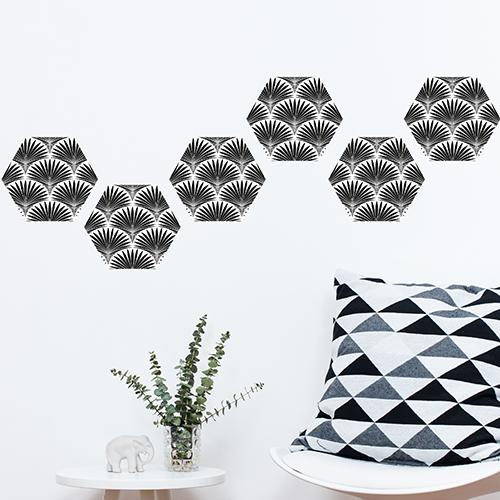 Carrelage hexagone sticker Palmiers en écailles