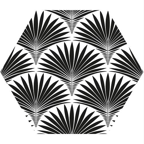 Joli décors Scandinave en noir et blanc avec des sticker hexagones plamiers en écaille comme un nid d'abeille.