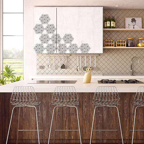 Placards de cuisine moderne personnalisés avec des stickers nid d'abeille en hexagone aux motifs géométriques.