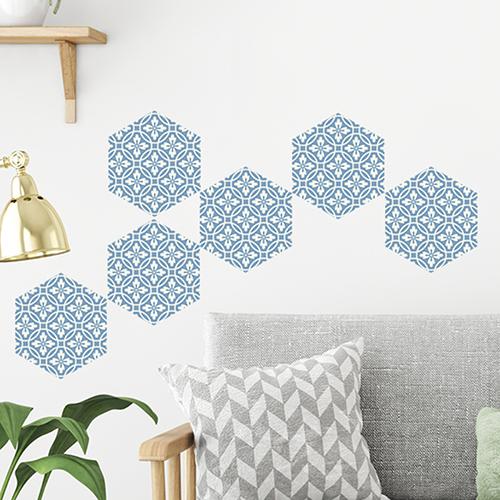 Adhésif hexagone carreaux de ciment bleu et blanc