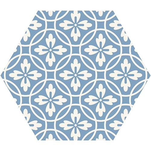 Décoration scandinave dans ce salon avec de jolis hexagones carreaux de ciment bleu ciel et blanc