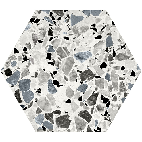 Salon scandinave avec faux carrelage adhésif terrazzo tendance de forme hexagonale