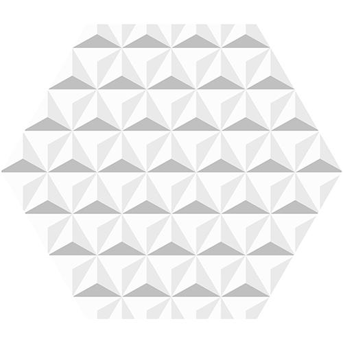 Salon scandinave avec mur bleu ciel eprsonnalisé avec des adhésifs hexagone origami blanc.