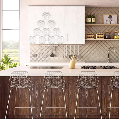 Portes de placards de cuisine personnalisées avec des imitations de carrelage 3D de formes hexagonal au motif origami.