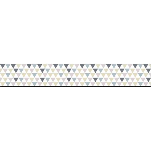 Contremarches d'escalier adhésive au motif triangles bleu lila