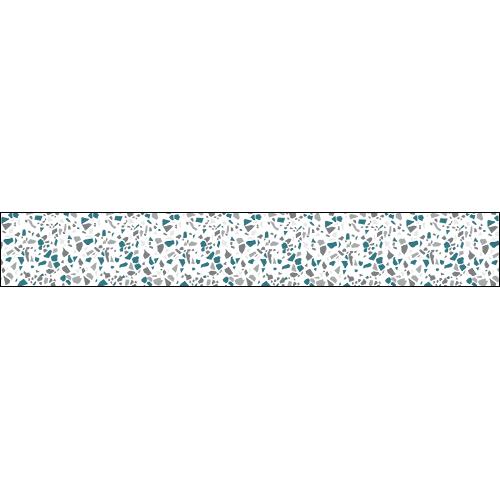 Adhésif pour contremarche d'escalier avec motif granito gris bleu style terrazzo.