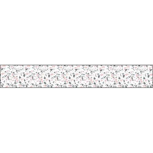 Contremarche d'escalier adhésive avec motif terrazzo gris rose, effet matière granito.