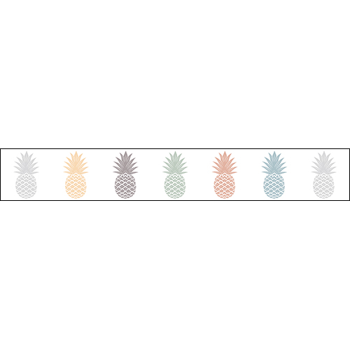 Sticker pour contremarche d'escalier avec ananas colorés de style art déco.
