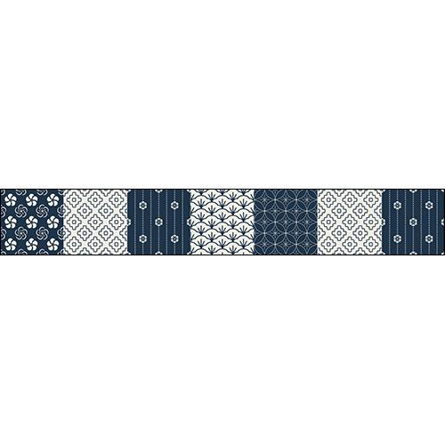 Sticker pour contremarche d'escalier avec motif carrelage Japonais en bleu et blanc.