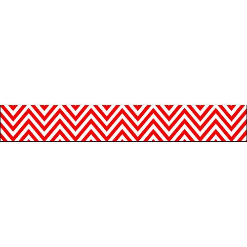 Sticker pour contremarches d'escaliers chevrons rouge et blanc.