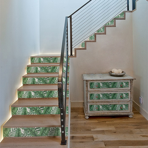 Adhésif pour contremarches d'escalier Urban Jungle feuilles exotiques C